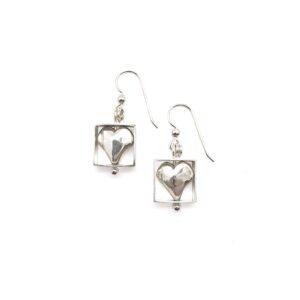 SS Heart Dangle Earrings