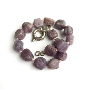 SS Natural Ruby Bracelet